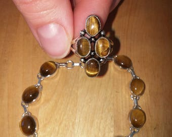 SALE Tiger's Eye Ring and Bracelet, 925 Silver. Free Shipping.