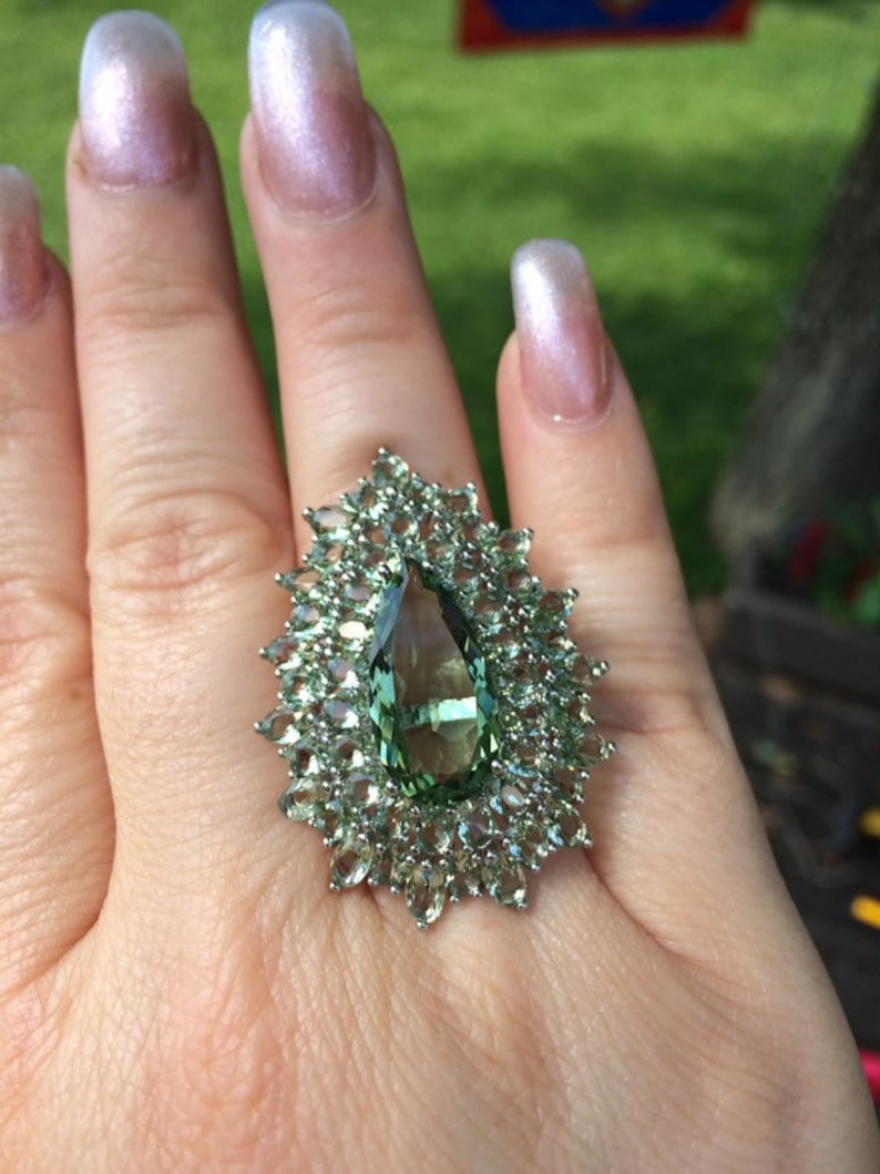 Platinum Over Silver SALE Green Amethyst Cocktail Ring Free Shipping.