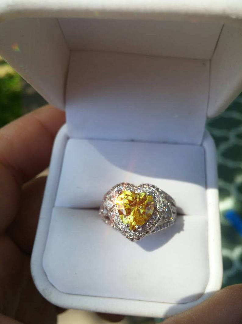 Free Shipping. Silver and Platinum SALE Yellow Topaz /& White Sapphire Heart Ring
