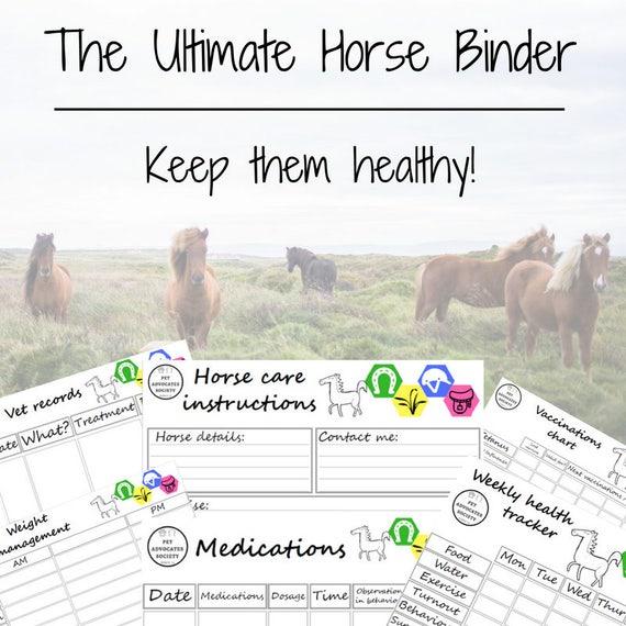 ultimate horse binder pet care kit horse planner health etsy
