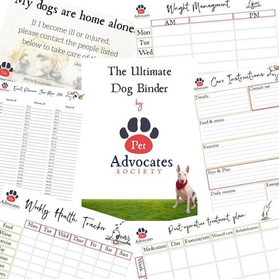 ultimate dog binder pet care kit dog planner dog health etsy