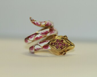 aaf973167d3 Vintage Gucci 18k Yellow Gold Ring with Rubies and Pink and White Enamel