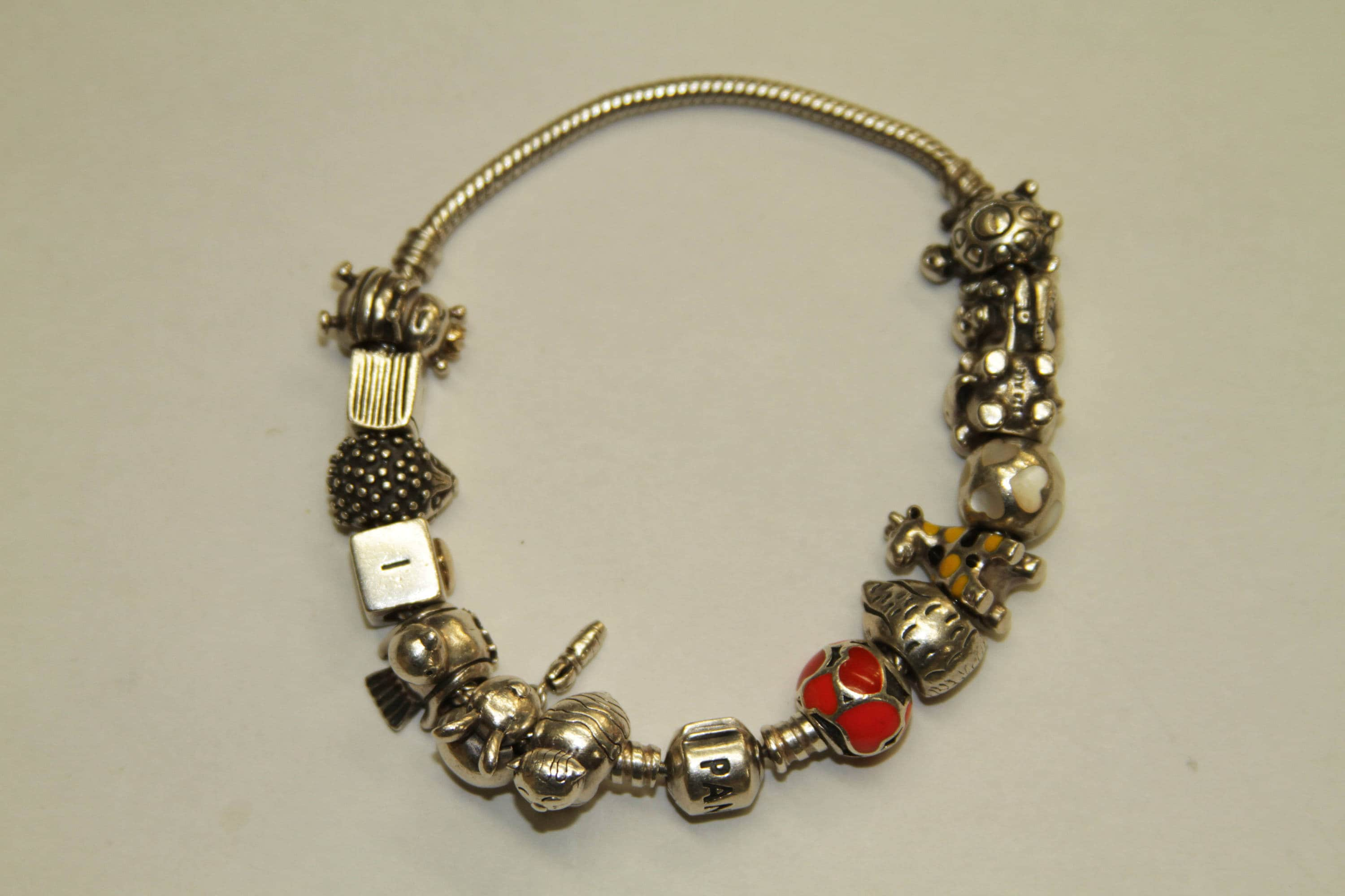 789412497 Sterling Silver Pandora Charm Bracelet With 14 Charms