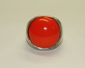 Metal Pointus Sterling Silver Ring With Orange Stone