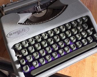 Mint serviced Swiss Made HERMES baby ultra-portable 'cloudy rain gray' Typewriter custom made !