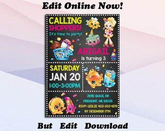 Shopkins Invitation Birthday Party Printable