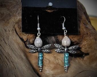 Job's Tears Dragonfly Earrings