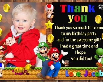 Mario Thank You Card Etsy