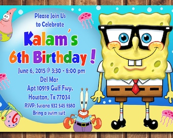 SALE Spongebob Invitation Birthday Printable Card Invite Digital File A