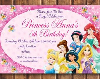 sale disney princess birthday invitationdisney princess invitation princess birthday invitation digital d
