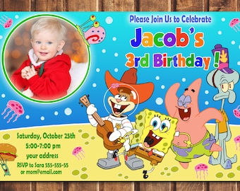 SALE Spongebob Invitation Birthday Printable Card Invite Digital File C