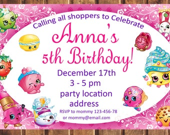 Shopkins Invitation Birthday Party Invite Printable Digital File