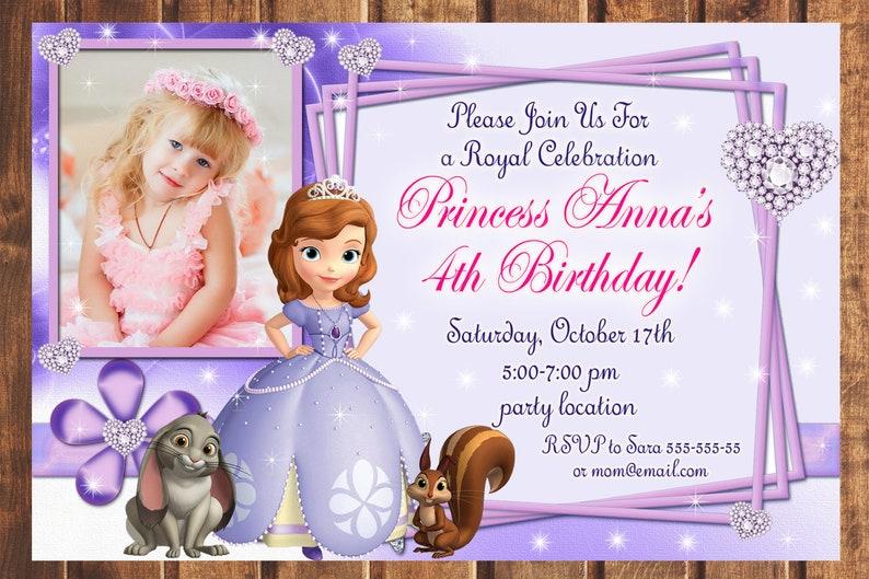 Sofia The First Birthday Invitation 1st Sophia Invite Digital K
