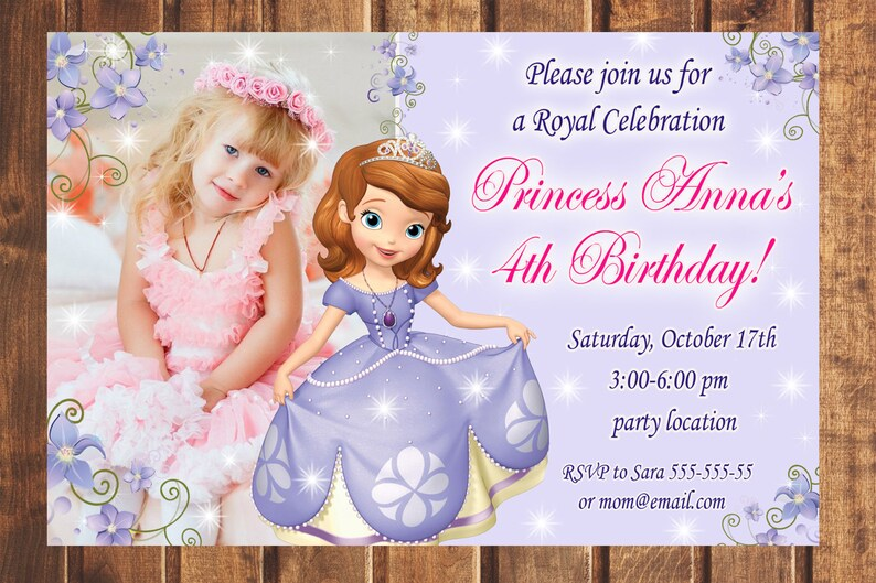 Sofia The First Birthday Invitation 1st Sophia Invite