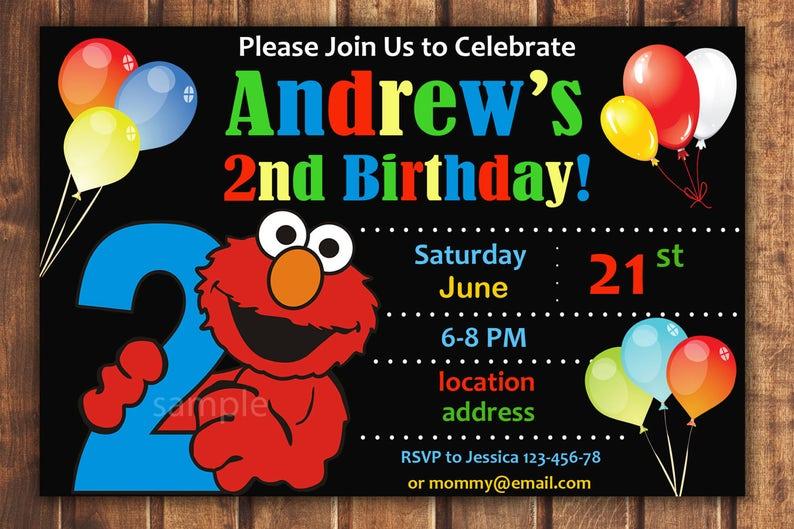 Elmo Birthday Invitation Elmo Invitation Elmo Birthday Card Etsy