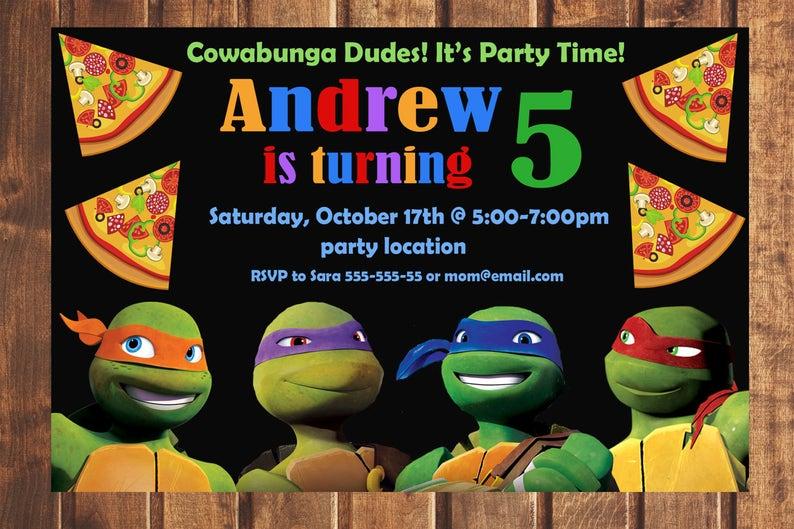Tmnt Birthday Invitation Ninja Turtles