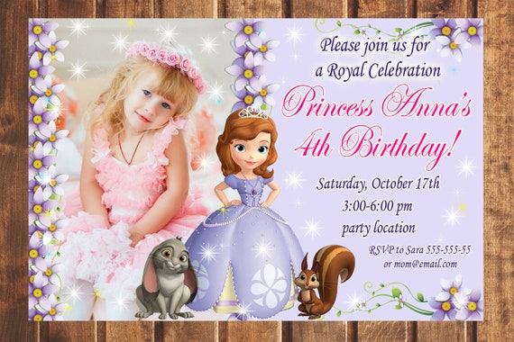 Sale sofia the first birthday invitation sofia the 1st etsy image 0 filmwisefo