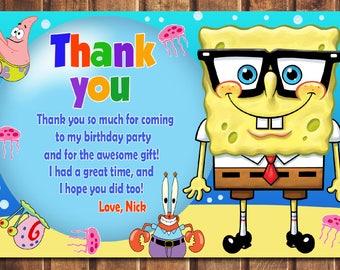 Spongebob Thank You Card Birthday Printable Digital File A