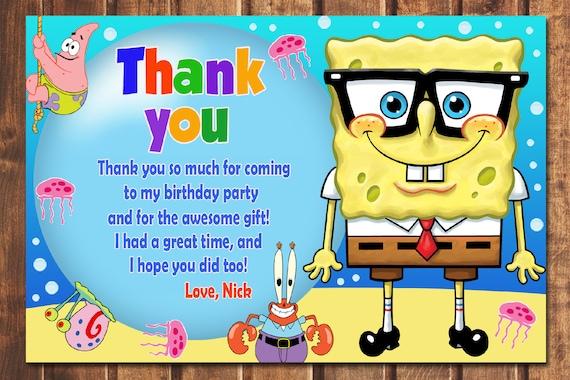 Spongebob Thank You Card Birthday
