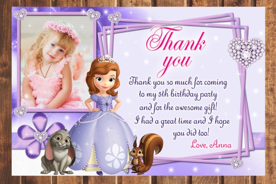 Sale Sofia The First Thank You Card Sofia The 1st Thank You Etsy