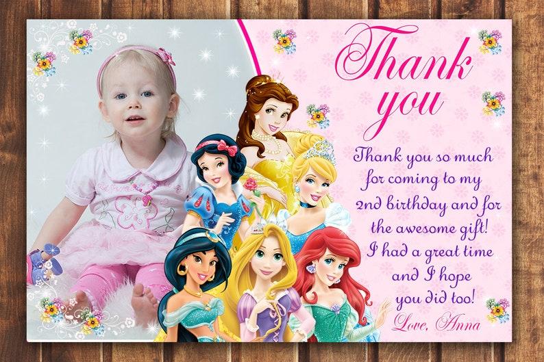 Princess thank you card Disney Princess thank you card Disney Princess card disney princess thank you card digital -digital b