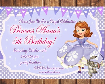 Sofia the first invitation Etsy