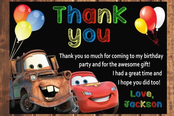 Cars Thank You Card Disney Cars Thank You Card Disney Cars Etsy
