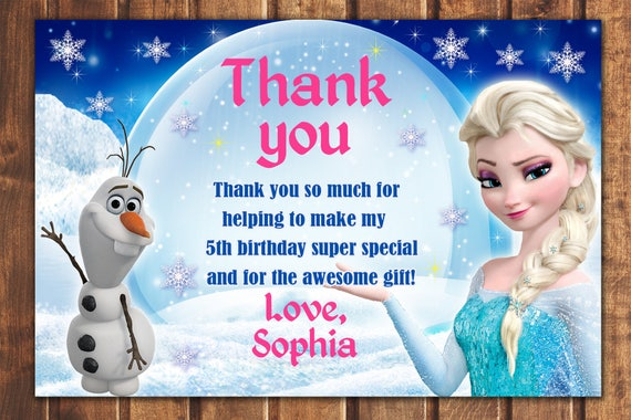 Sale Frozen Thank You Card Frozen Birthday Card Elsa Thank Etsy