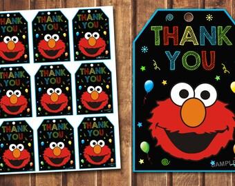 Elmo thank you tags, Elmo birthday tags, Elmo digital tags, Sesame Street thank you tags,Elmo favor tags