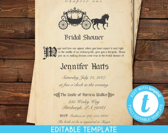 printable vintage princess cinderella book page bridal shower invitation self edit template