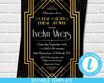printable great gatsby bridal shower invitation roaring 1920s art deco black and gold self edit template