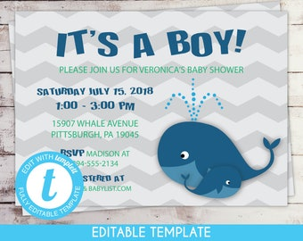 Printable Boy Nautical Whale Baby Shower Invitation Self-Edit Template