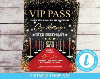 Vip invitation etsy printable vip pass hollywood red carpet sweet 16 birthday invitation self edit template filmwisefo