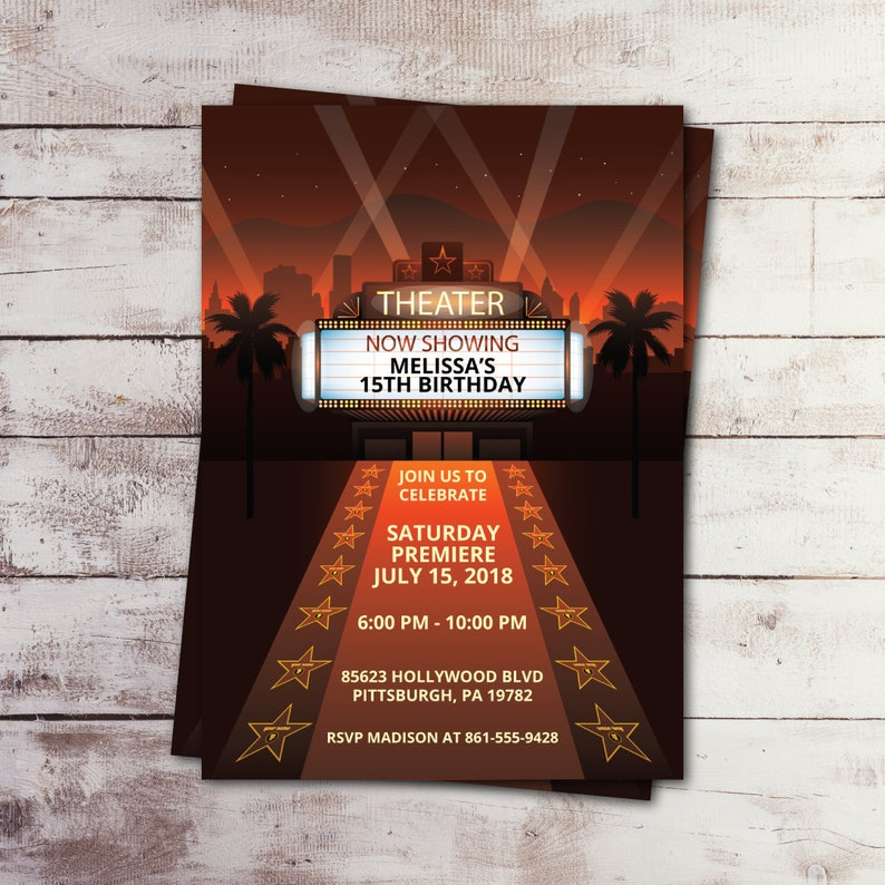 Movie Night Invite Hollywood Birthday Invitation Printed Etsy