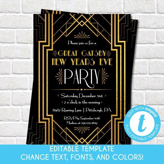 Printable Great Gatsby Holiday Party Invitation Roaring 1920s Etsy