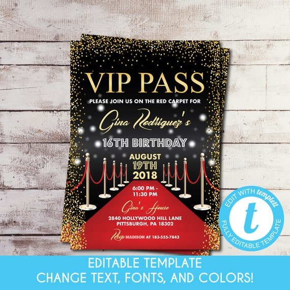 Editable Printable Vip Pass Birthday Invitation Hollywood Birthday Invite Red Carpet Sweet 16 Invitation Hollywood Party