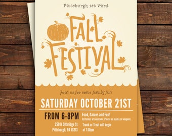 Fall Festival Invitation, Fall Party, Halloween Party Invitation, Pumpkin, Autumn Party, Fall Invitation Digital or Printed