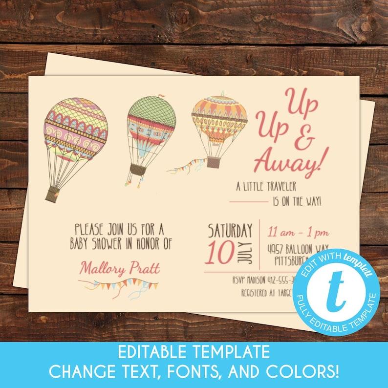 Self Edit Template Printable Up Up And Away Hot Air Balloon Etsy