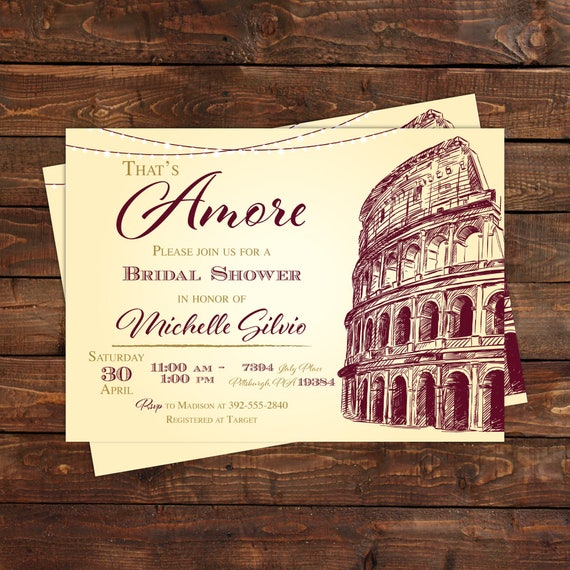 italian bridal shower invitation thats amore italy