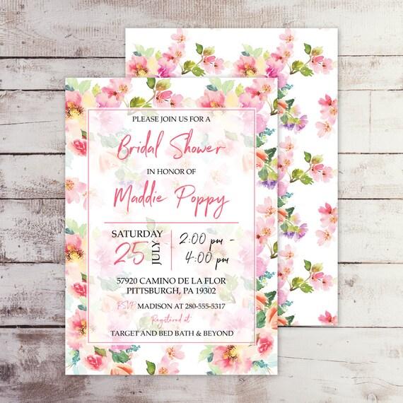 pink garden floral bridal shower invitation printed etsy