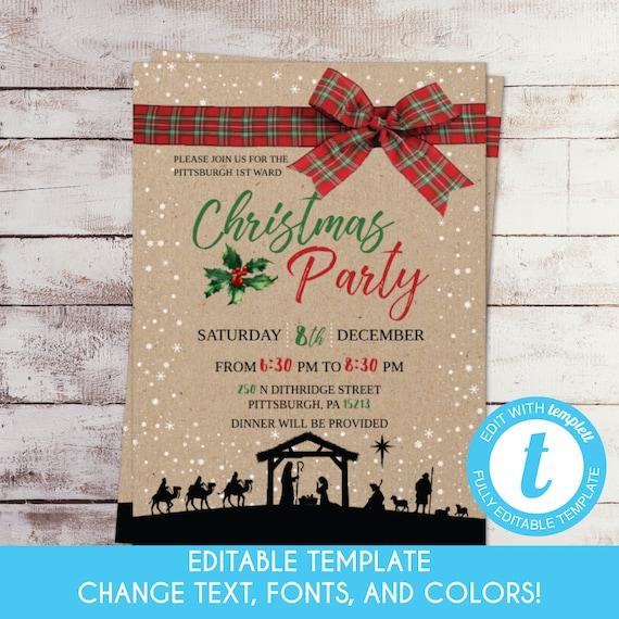 Editable Printable Rustic Nativity Christmas Party Invitation Religious Christmas Dinner Church Christmas Party Invite