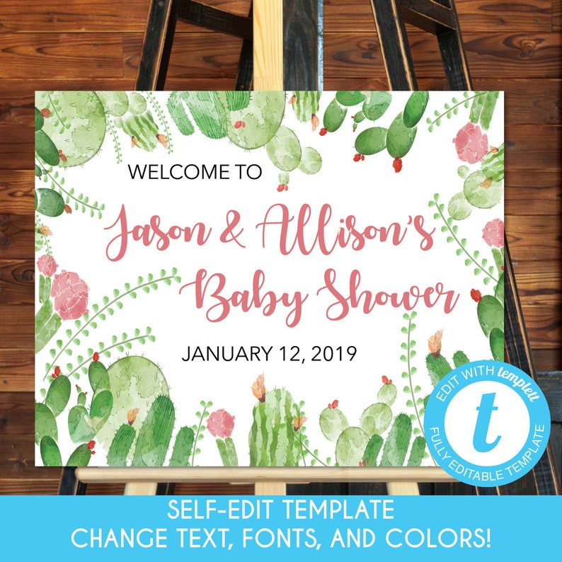 Welcome Poster 16x20 EDITABLE Printable Baby Shower Welcome Sign Desert Cactus Baby Shower Desert Cactus Welcome Sign Template