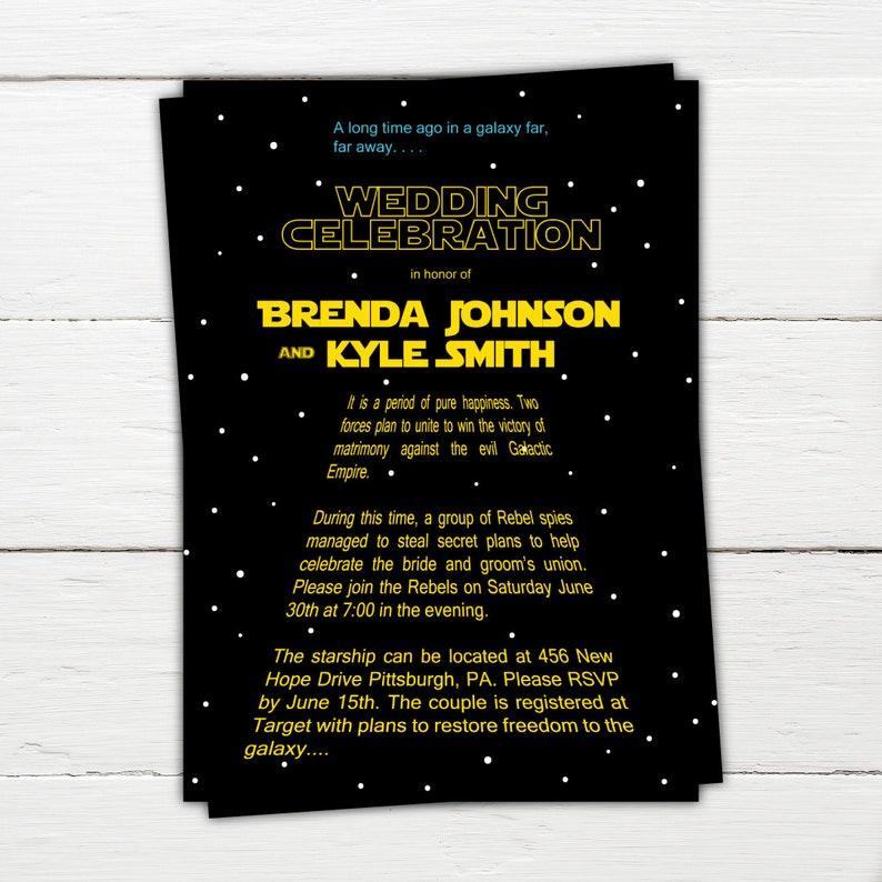 a973c93e239152 Star Wars Invitation Star Wars Wedding Invitation Sci-fi