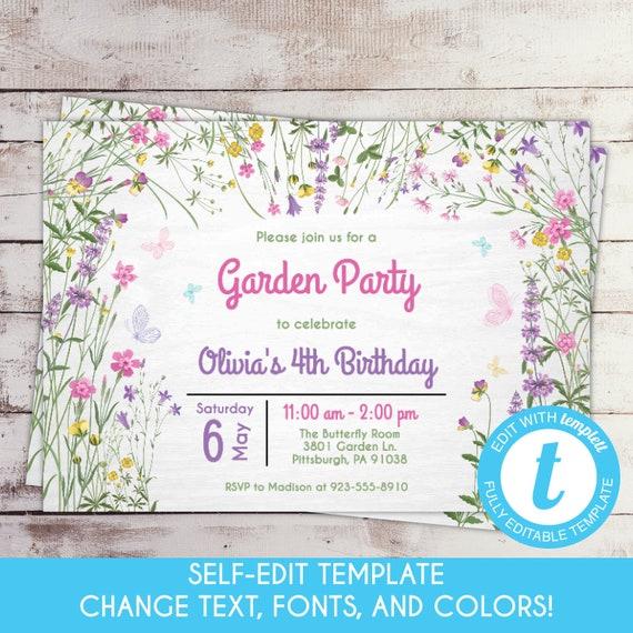Self Edit Template Printable Butterfly Garden Birthday