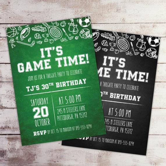 Chalkboard Sports Party Invitation Sports Invitation Etsy