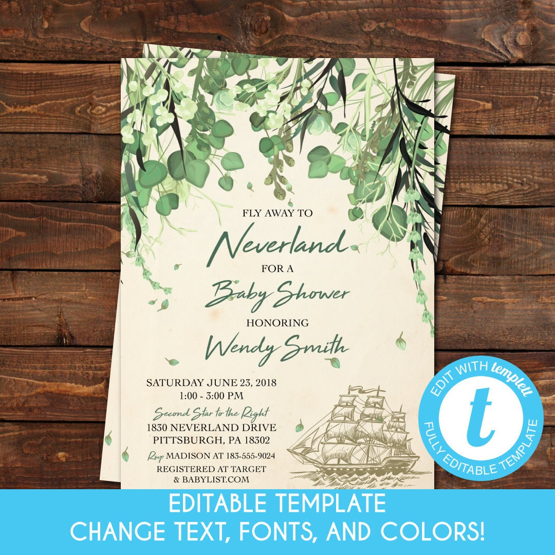 Printable Vintage Woodland Peter Pan Neverland Baby Shower