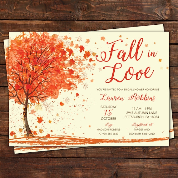 fall in love autumn bridal shower invitation printed etsy