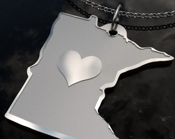 Minnesota State Heart Pendant Necklace - Personalized State Necklace- SOLID .925 Etched Sterling Silver Gift