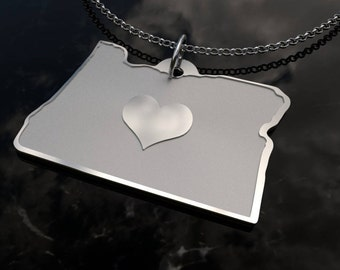 Oregon State Heart Pendant Necklace - Personalized State Necklace- SOLID .925 Etched Sterling Silver Gift