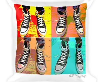 Sneakerhead Chucks Collector Square Pillow- Christmas Gift - Throw Pillow, Bed Pillow, Kids Room Decor